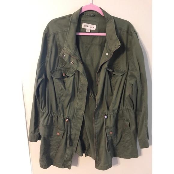aea6153014f3e Ava   Viv Jackets   Blazers - Ava   Viv green military plus size jacket